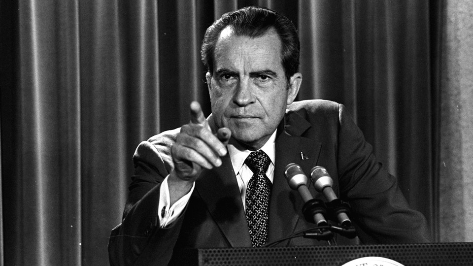 On March 15, 1973, President Nixon tells a White House news conference that he will not allow his legal counsel, John Dean, to testify in the Watergate investigation.