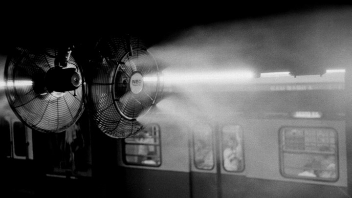 A fan blowing in a subway station
