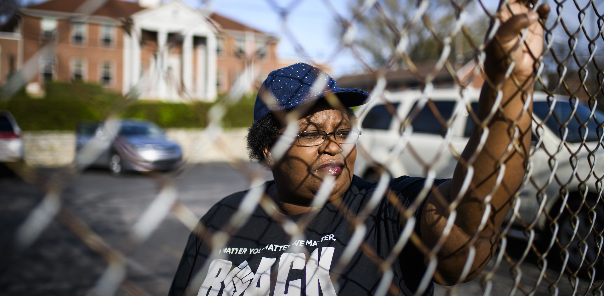 Sheila Clemmons Lee stands in the parking lot of the James A. Cayce Homes in East Nashville where Officer Joshua Lippert of the Metro Nashville Police Department shot and killed her son, Jocques Clemmons.
