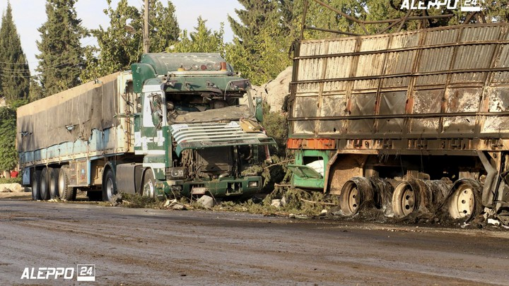 Part of the convoy that was struck Monday near Aleppo, Syria.
