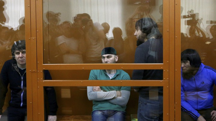 The defendants accusedof involvement in the killing ofBoris Nemtsovattend a hearing at the military district court in Moscow, Russia on June 27, 2017.
