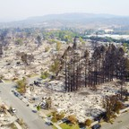 An aerial shows damage caused by wildfires in Santa Rosa, California.