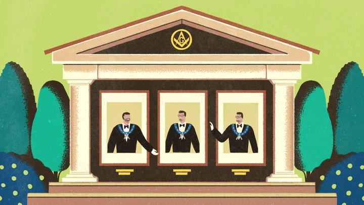 An illustration of three men in a Masonic lodge.
