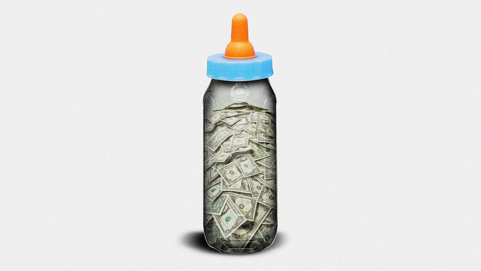 Illustration of baby bottle filled with money.