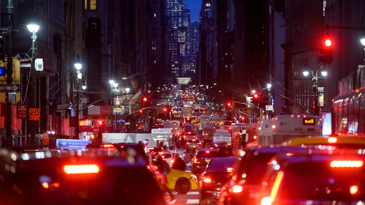 Cars in a nighttime traffic jam in New York City