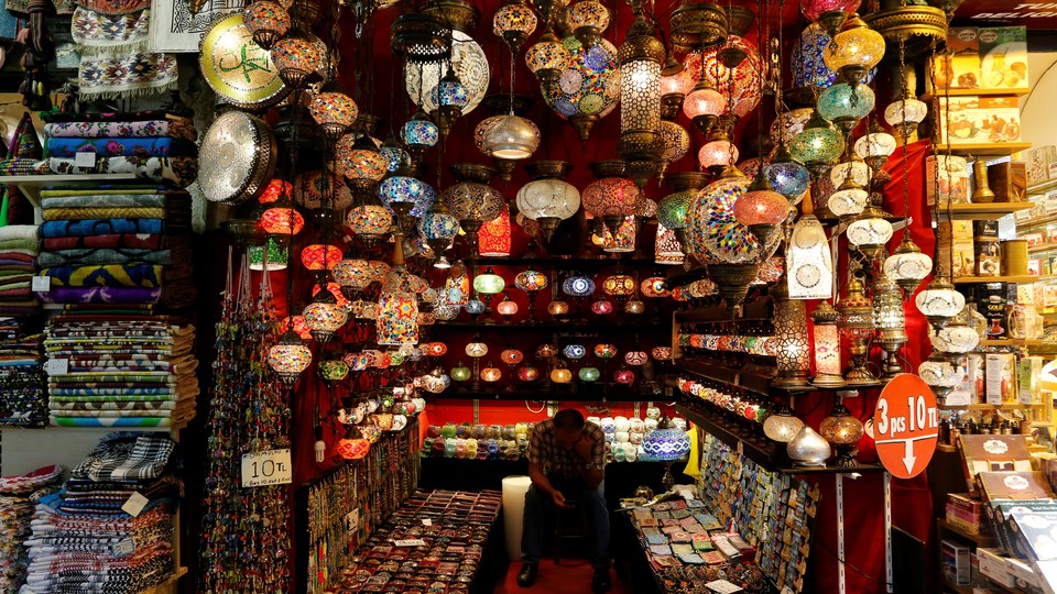 A shopkeeper waits for customers at the Grand Bazaar in Istanbul, Turkey.