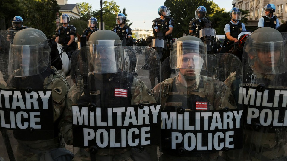 The National Guard at a protest against the death of George Floyd in Washington, D.C., on June 1, 2020
