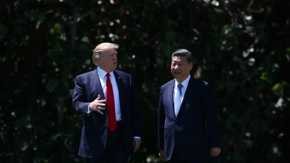 Trump takes Xi Jinping on a tour of Mar-a-Lago in 2017.