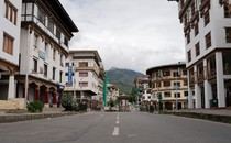 General view of the deserted Norzin Lam road, the main artery of Bhutan's capital, during a government-imposed nationwide lockdown as a preventive measure against the COVID-19 coronavirus, in Thimphu on August 13, 2020
