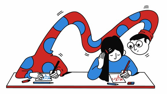 Illustration of a boy with a long, bendy neck peering over the shoulder of a girl doing work