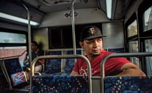 Vinson riding the bus