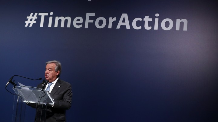 United Nations Secretary-General Antonio Guterres speaks during the UN Climate Change Conference (COP25) in Madrid, Spain on December 12, 2019.