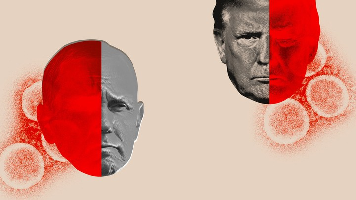 An illustration of Mike Pence and Donald Trump with viruses around them.