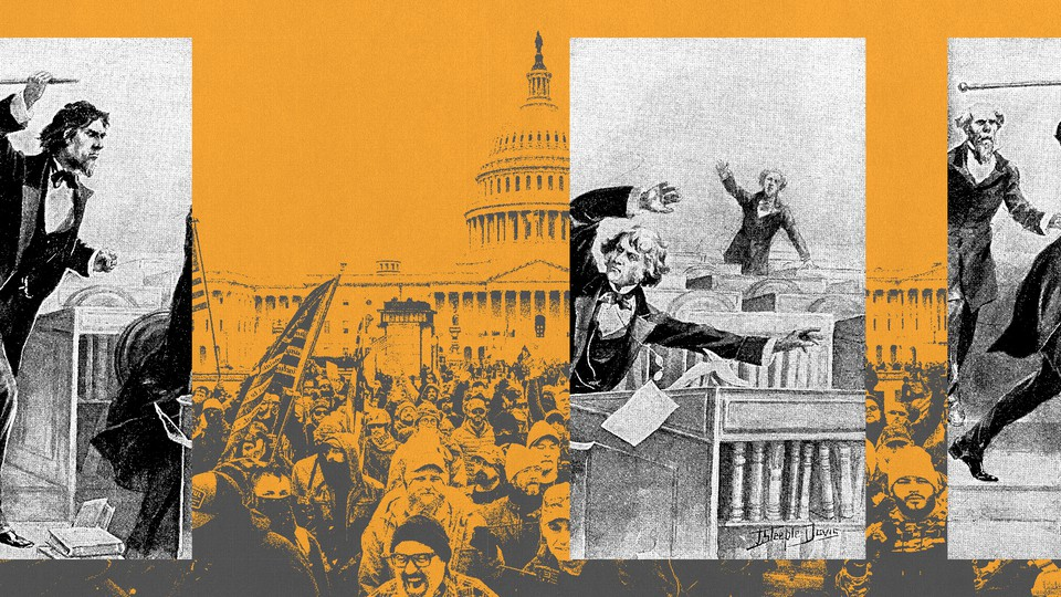 A collage of historical politicians and scenes from the storming of the U.S. Capitol on January 6.