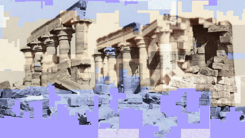 Digital art depicting pixelated ruins
