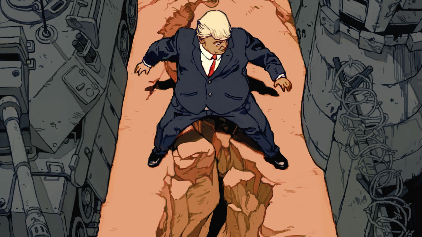 Illustration: Trump straddles a crumbling canyon dividing isolationism—watch towers and barbed wire fences—and antagonism—armored tanks and other military vehicles.