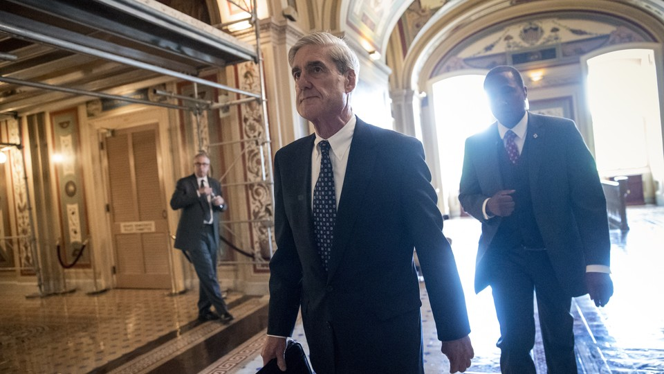Special Counsel Robert Mueller departs after a closed-door meeting with members of the Senate Judiciary Committee in June 2017.
