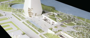 A photo of a design maquette for the Obama Presidential Center planned for Jackson Park and designed by Tod Williams Billie Tsien Architects with Michael Van Valkenburgh Associates.