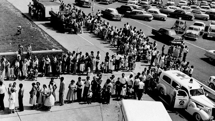 People waiting in line for polio shots in 1959.