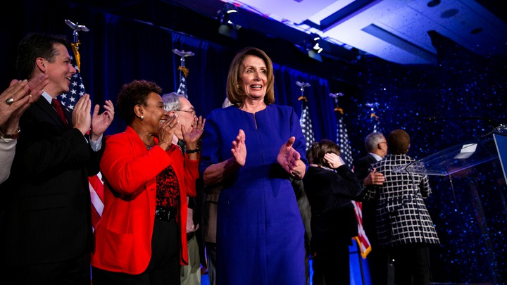 Nancy Pelosi at the House Democratic watch party in Washington, D.C.