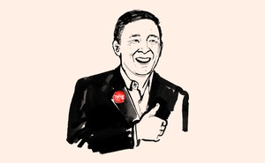 ink illustration of Andrew Yang giving a thumbs up