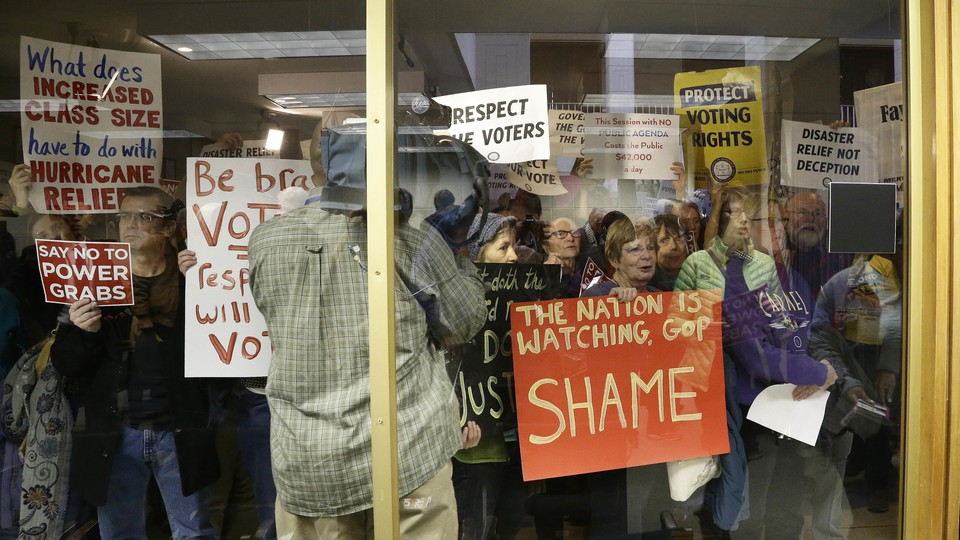 Protestors at the North Carolina General Assembly on Thursday