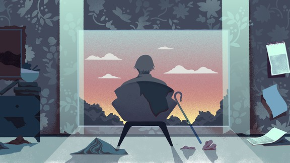 An illustration of an elderly man sitting in a darkened room looking out the window at a sunset.