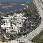 An aerial view of the Facebook campus in Menlo Park, California.