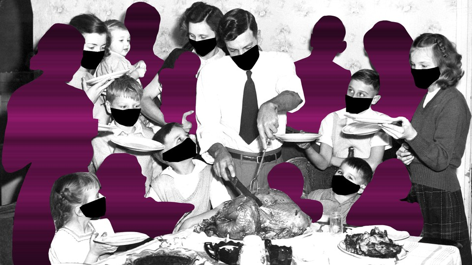 An illustration of a Thanksgiving meal, with diners wearing masks