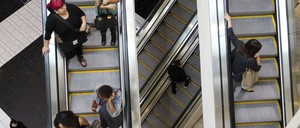 Escalators are pictured.
