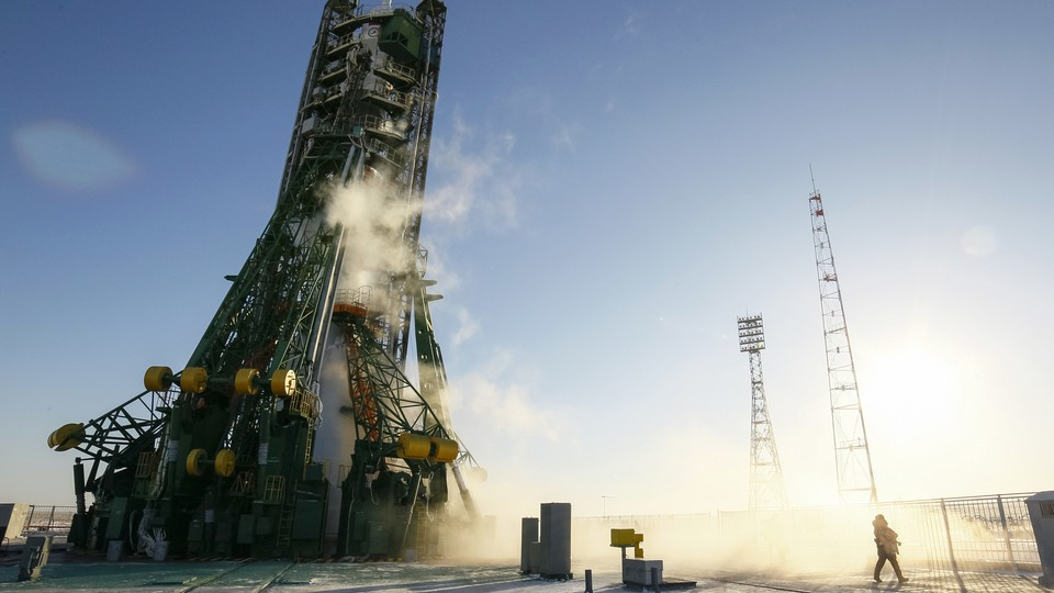 A Soyuz spacecraft, which carries astronauts to space, sits on the launchpad at Baikonur cosmodrome in Kazakhstan.