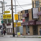 Bail bond businesses are pictured opposite the Los Angeles County Sheriff's Department Twin Towers Correctional Facility in Los Angeles, California, January 30, 2015.