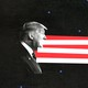 An illustration of Donald Trump facing Joe Biden with the stripes of the flag between them