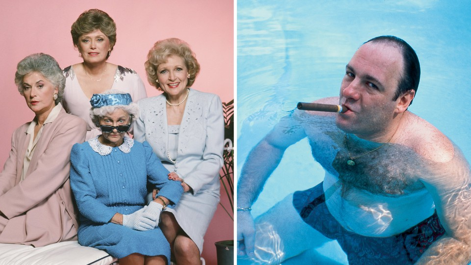 The Golden Girls are pictured. American actor James Gandolfini, as Tony Soprano, smokes a cigar while he stands in pool, in a 1991 publicity still for the HBO cable TV series, <i>The Sopranos.</i>.