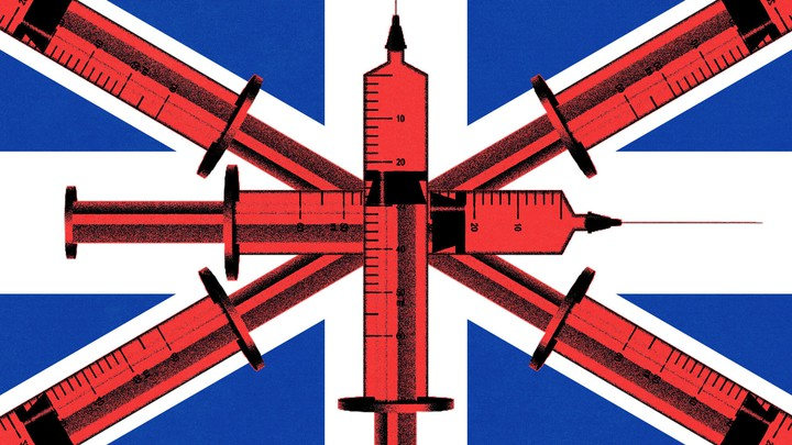 A stylized British flag, with syringes through the middle.