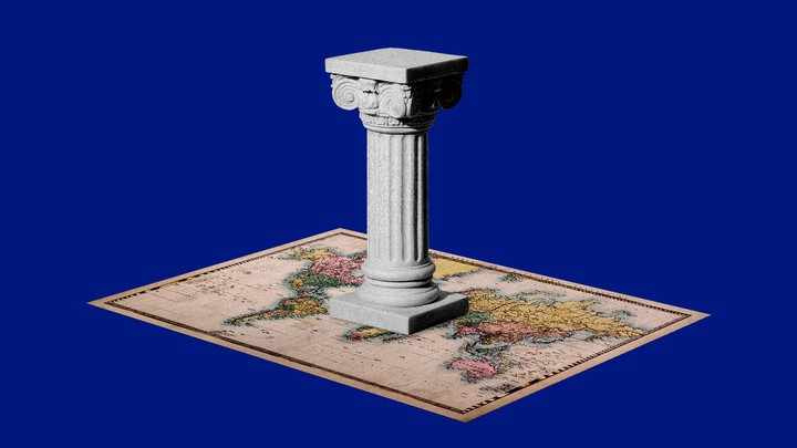 A column on top of a map.