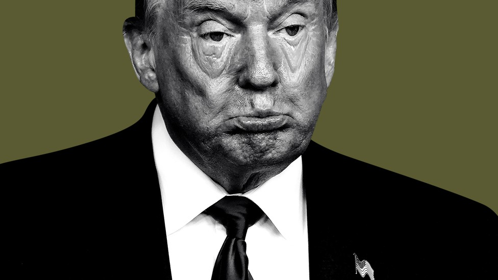 An illustration of Trump looking tired and bored