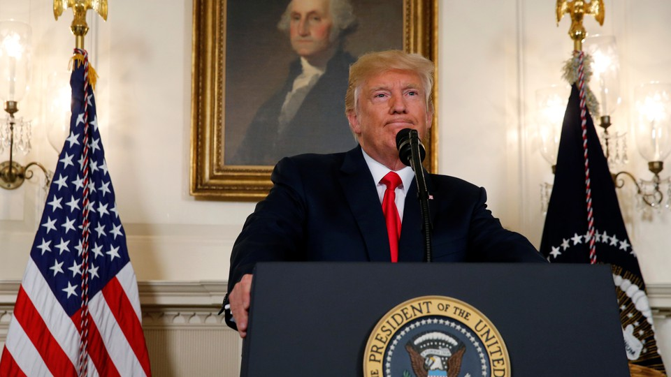President Trump speaks at the White House on Monday, August 14.