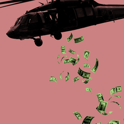 An illustration of dollar bills falling from a helicopter.
