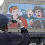 A giant 'I Love Lucy' mural in Jamestown, New York is pictured.