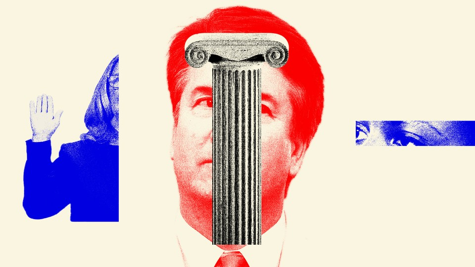 Artwork using three photographs: one half of a blue-tinted photograph of Christine Blasey Ford, a small snippet of a blue-tinted photo of Anita Hill, and a red portrait of Brett Kavanaugh partially hidden by a white column