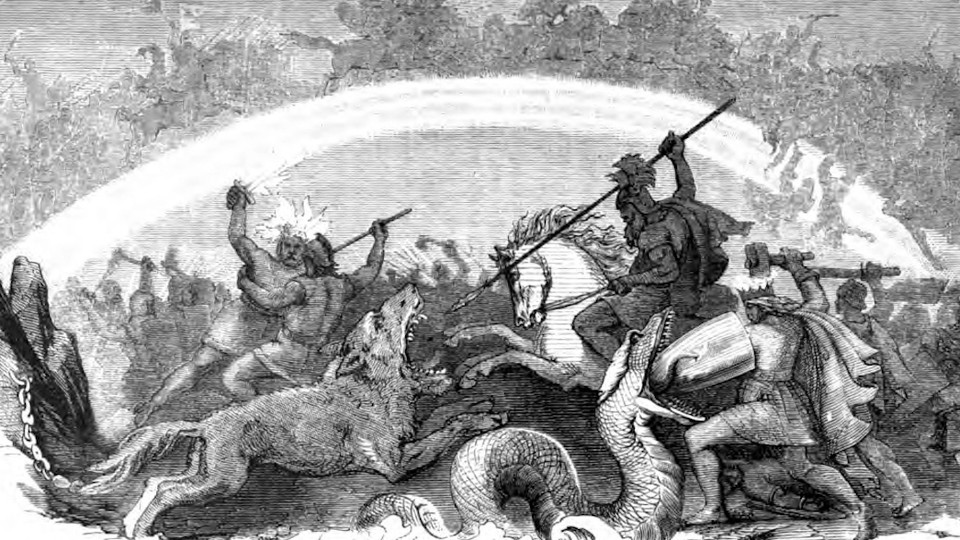 In this illustration, Odin rides to battle and aims his spear towards the gaping mouth of the wolf Fenrir, Thor defends against the serpent Jörmungandr with a shield while wielding his hammer Mjöllnir, Freyr and the flaming Surtr fight, and an immense battle goes on around and atop the rainbow bridge Bifröst behind them.