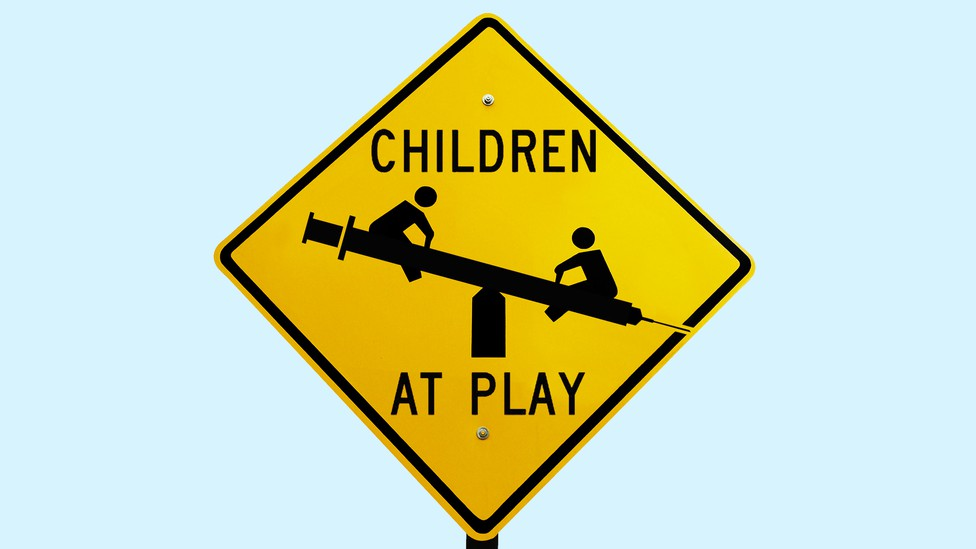 """An illustration of a """"Children at Play"""" sign"""