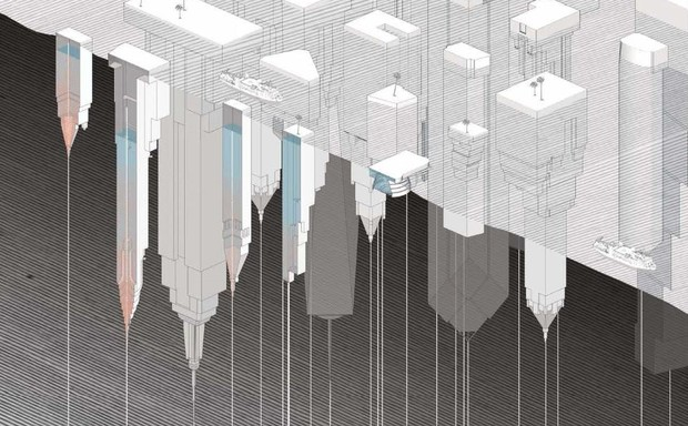 An illustration of buildings sunken underground and upside down.