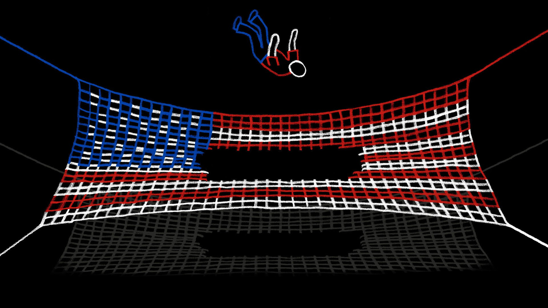 A man falling into a U.S. flag, drawn as a net with a hole in the middle