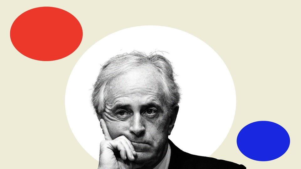 Senator Bob Corker in black and white with colorful geometric shapes around him