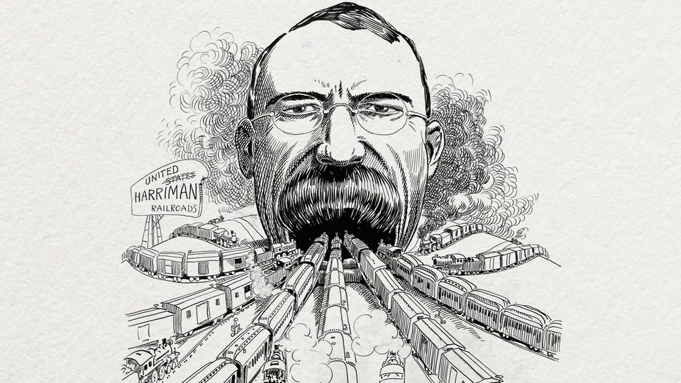 An archival caricature of a railroad baron swallowing America's train lines