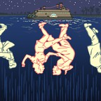 An illustration of dancing figures reflected in the water beneath a docked riverboat