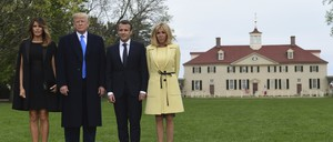 a photo of President Donald Trump, Melania Trump, French President Emmanuel Macron, and Brigitte Macron during their visit to Mount Vernon in April 2018.