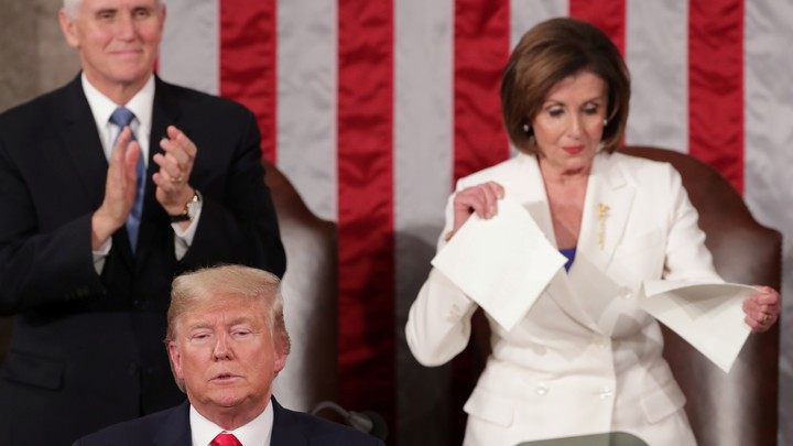 Mike Pence, Donald Trump, and Nancy Pelosi
